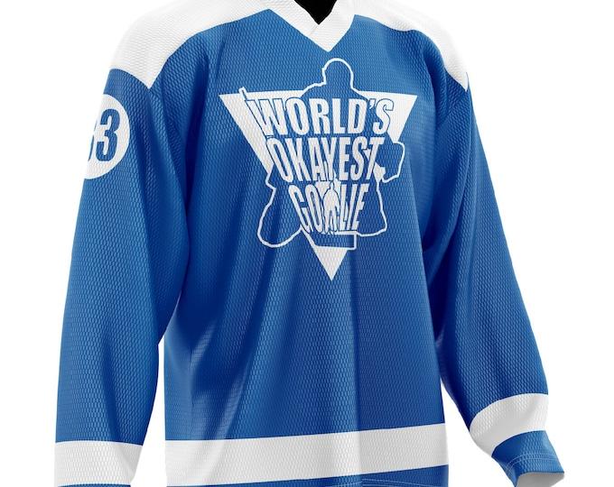 World's Okayest Goalie Hockey Jersey Blue/White
