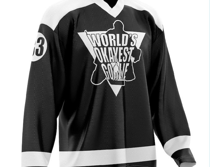 World's Okayest Goalie Hockey Jersey Black/White