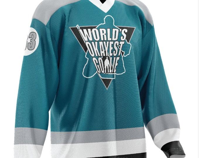 World's Okayest Goalie Hockey Jersey Teal/White/Gray