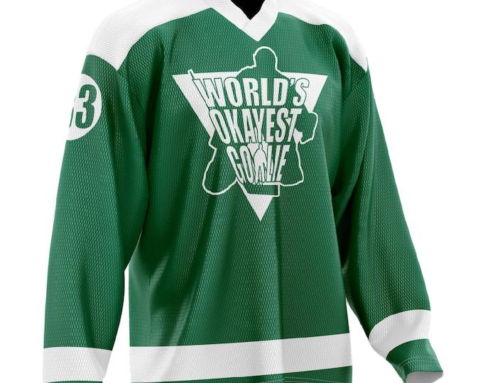 World's Okayest Goalie Hockey Jersey Green/White