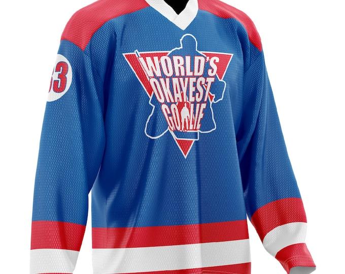 World's Okayest Goalie Hockey Jersey Blue/Red/White