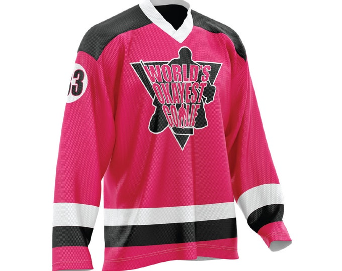 World's Okayest Goalie Hockey Jersey Neon Pink/Black/White