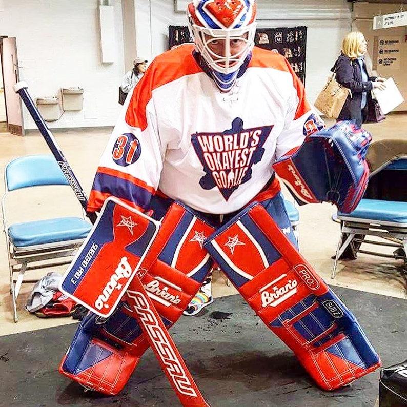 World S Okayest Goalie Hockey Jerseys Etsy