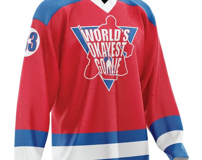 World's Okayest Goalie Hockey Jersey Red/Blue/White