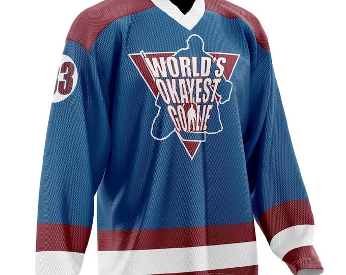 World's Okayest Goalie Hockey Jersey Navy/Maroon
