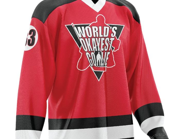 World's Okayest Goalie Hockey Jersey Red/Black/White