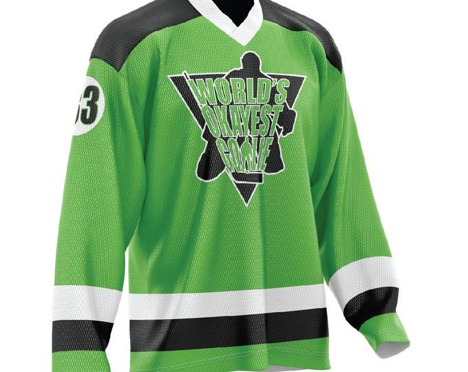 World's Okayest Goalie Hockey Jersey Neon Green/Black/White