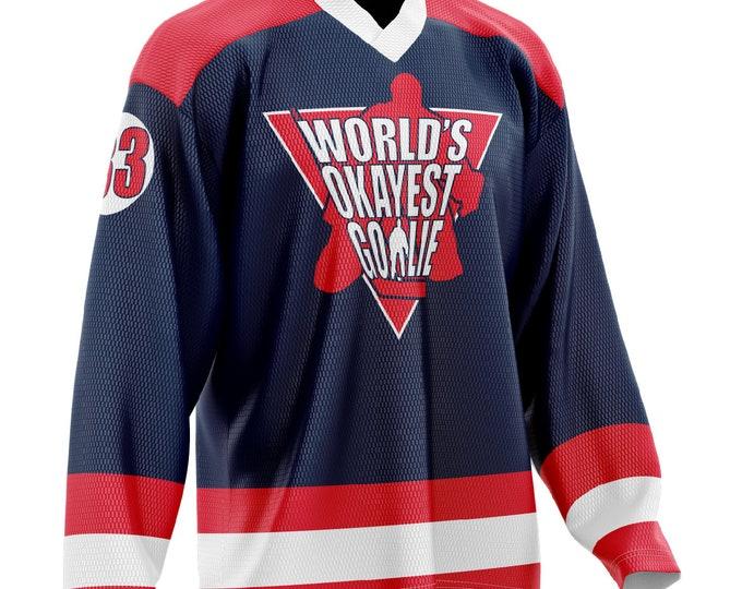 World's Okayest Goalie Hockey Jersey Navy Blue/Red/White