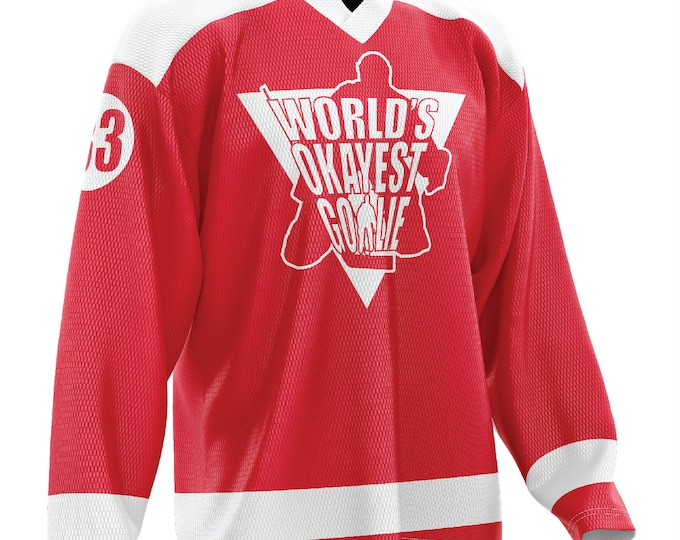 World's Okayest Goalie Hockey Jersey Red/White