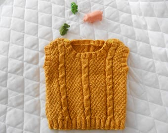 baby mustard sleeveless sweater