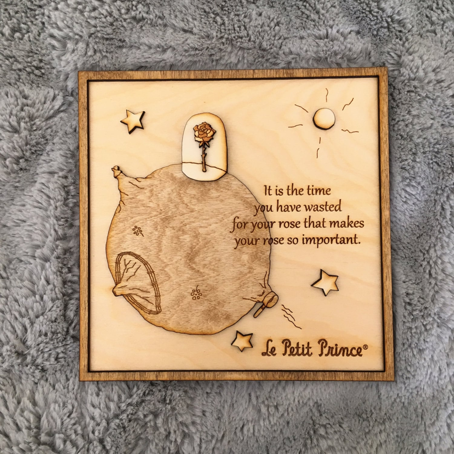 The Little Prince Wood Frame no.3 Rose / Wood engraved frame / The ...
