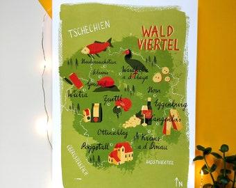 Waldviertel Map Art Print A4, watercolor