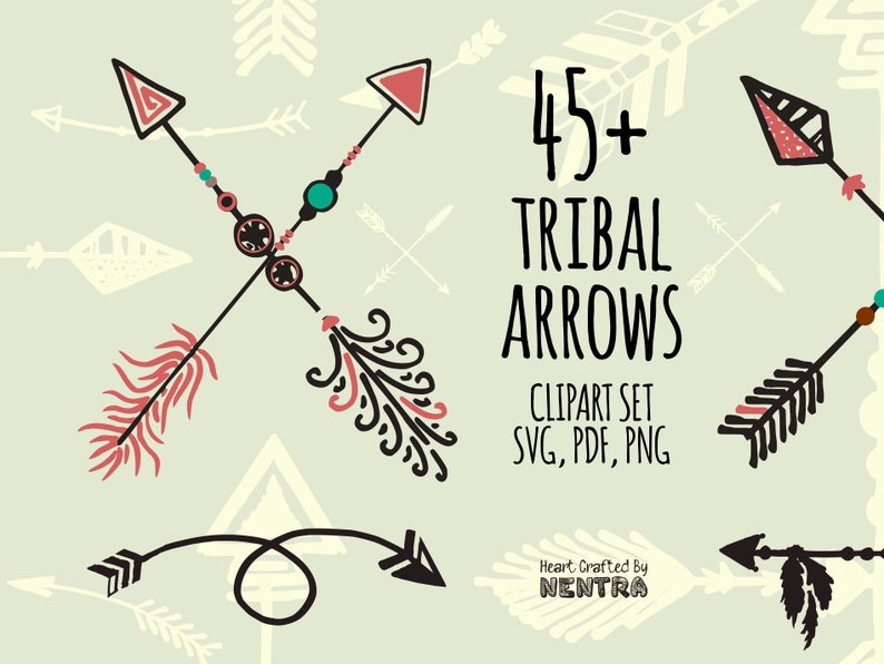 80% Off Sale SVG Arrows 45+ Tribal Arrows, Curved Hand Painted Spear,  Design Resources Clipart PNG, Nomadic, Ancient Viking Celtic Art Files
