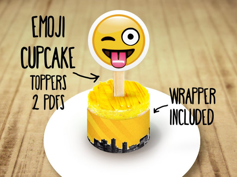 80 Off Sale Emoji Party Cupcake Toppers Instant Download