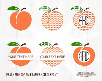 80% Off Sale Peach Monogram SVG, Peaches Split Frame + Circle Border Clipart, PNG pdf dxf. Download for Mac + PC, Commercial License w/ Font