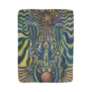 Conscious Transmission Sherpa Fleece Blanket Surreal Visionary Art
