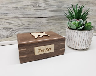 Pet Cremation Urn,Pet Cremation Box - Maple Wood Paw Print, Cat Silhouette Pet Urn, Personalized Pet Urn, Box for Pet Ashes,