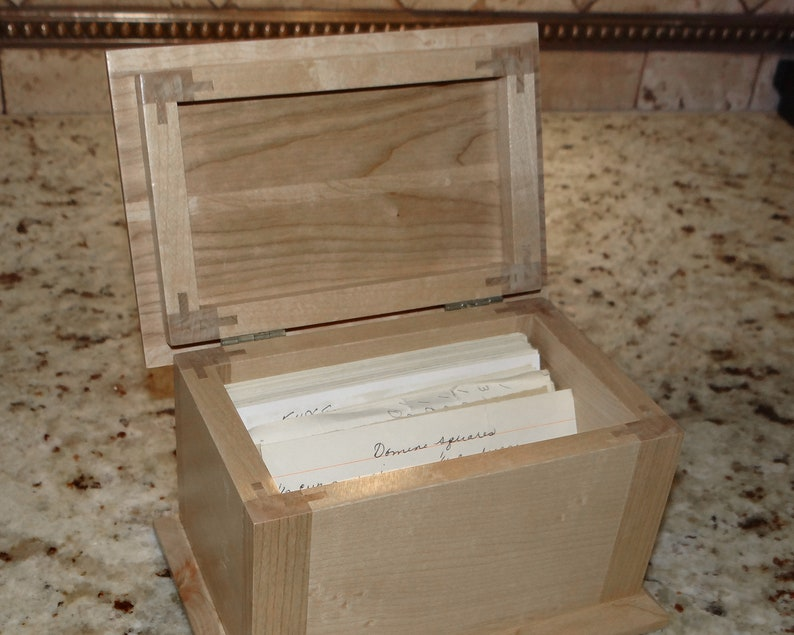 Solid Wood Recipe Box From Cherry Wood And Maple Hold 3x5 Recipe Cards Looks Great On The Kitchen Counter