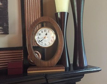Oval Mantel Clock, Mantle Clock - Walnut & Maple Solid Woods - Great Gift Idea for Weddings, Birthdays, Christmas, Mother's Day