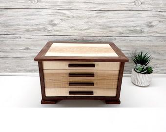 Custom Shaker Style Jewelry Box, 3-Drawer Jewelry Box with Dividers, Men's Cuff Link Box, Ring Jewelry Box,