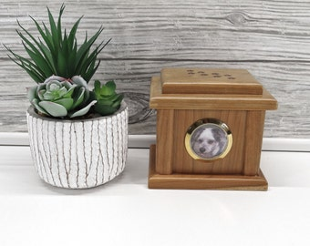 Pet Cremation Urn from Solid Wood - Styled like a Pet House with Picture insert and Paw Prints stamped on the top