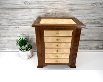 Jewelry Box with Arched Legs, Necklace holder with 6 drawers. Women's jewelry box with necklace hangars. Solid wood jewelry box