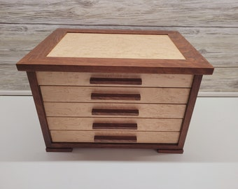 Custom Shaker Style Jewelry Box with Necklace Hooks, 4-Drawer Jewelry Box with Dividers, Men's Cuff Link Box, Ring Jewelry Box,