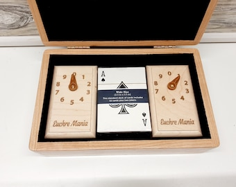 Euchre Counters Boxed Set, Handcrafted From Solid Wood, Complete with Playing Cards - Gift for Christmas, Birthday, Unique Gift Idea