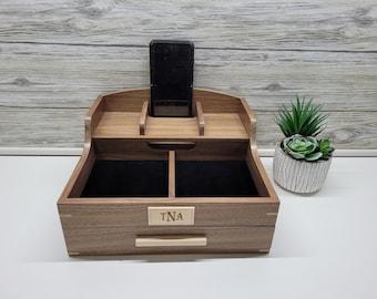 Man's Dresser Box with Smartphone speaker, Men's Valet Box, Memory Box, Box for Men, Trinket Box, Valet Box