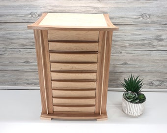 8-Drawer Retro Jewelry Box with Lift Lid and Necklace Doors, Necklace Storage, Solid wood jewelry box