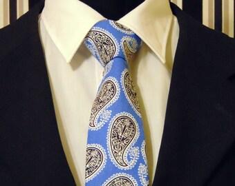 Blue Paisley Necktie, Blue Paisley Tie, Mens Necktie, Mens Tie, Black Necktie, Black Paisley Tie, Cotton Necktie, Cotton Tie, Gift, Father