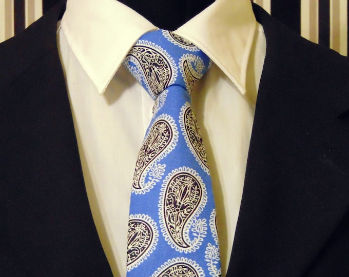Blue Paisley Necktie, Blue Paisley Tie, Mens Necktie, Mens Tie, Black Necktie, Black Paisley Tie, Cotton Necktie, Cotton Tie, Gift, Father