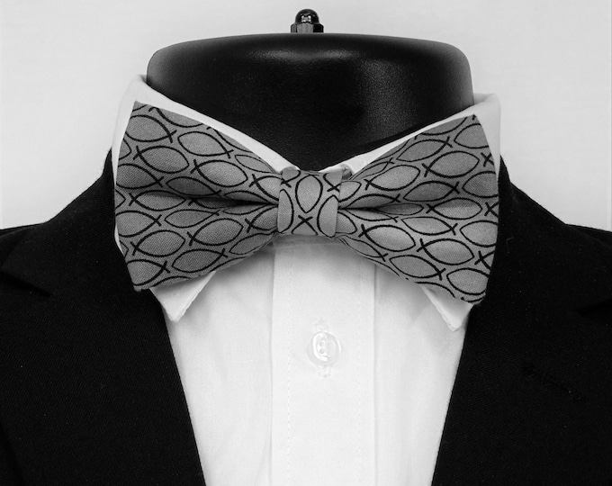 Christian Fish Bow Tie – Black on Light Gray Mens or Boys Jesus Fish Pretied Bowtie.