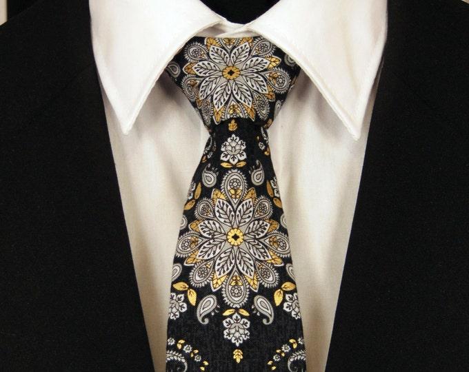 Mens Necktie, Mens Tie, Black Necktie, Black Tie, Paisley Necktie, Paisley Tie, Floral Necktie, Floral Tie, Father, Dad, Gift, Christmas