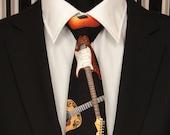 Guitar Necktie, Guitar Tie, Mens Necktie, Mens Tie, Music Necktie, Music Tie, Black, Wedding, Father, Dad, Gift, Fathers Day, Christmas, Tie