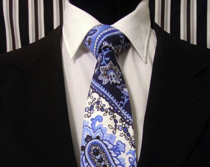 Paisley Necktie, Paisley Tie, Mens Necktie, Mens Tie, Blue Necktie, Blue Tie, Blue Paisley Tie, Navy Necktie, Navy Tie, Stripe Necktie, Dad