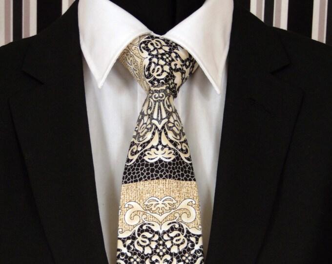 Floral Necktie, Floral Tie, Mens Necktie, Mens Tie, Black Necktie, Black Tie, Beige Necktie, Beige Tie, Father, Christmas, Gift, Wedding
