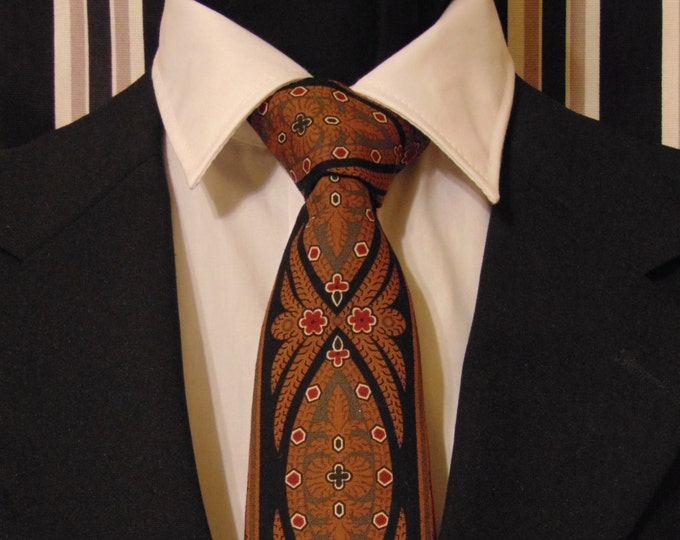 Brown Necktie, Black Necktie, Mens Necktie, Mens Tie, Chocolate Necktie, Chocolate Tie, Medallion Necktie, Medallion Tie, Gift, Contemporary