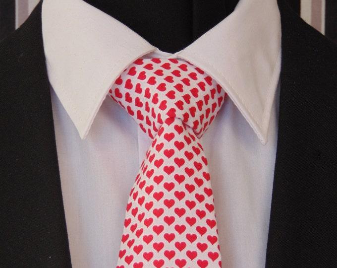 Valentines Necktie, Valentines Tie, Mens, Necktie, Mens Tie, Tie, Hearts, Red Hearts, White Red Hearts, Skinny, Wedding, Bride, Father, Dad