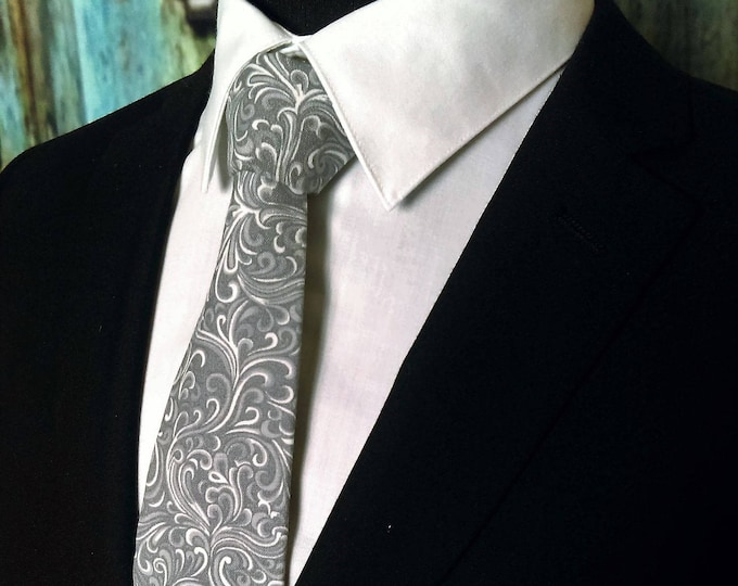 Mens Tie Unique – Gray Necktie / Mens or Boys Grey Neck Tie also Available as a Skinny Tie.