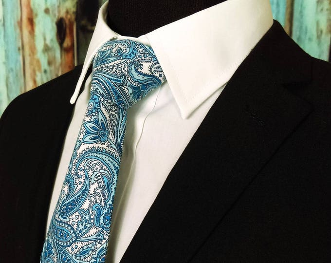 Paisley Tie – Mens Wedding Blue Paisley Necktie, Also Available as a Skinny Tie.
