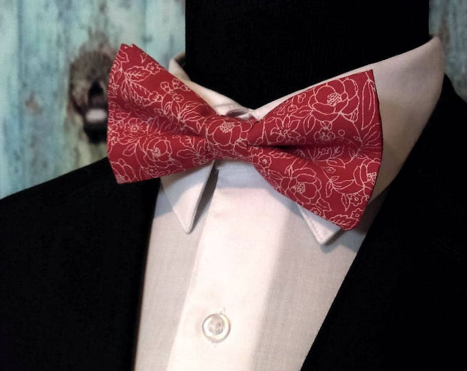 Red White Bow Tie, Red White Bowtie, Floral Bow Tie, Floral Bowtie, Mens, Bride, Fathers Day, Birthday, Gift, Wedding, Christmas, Dad, Prom