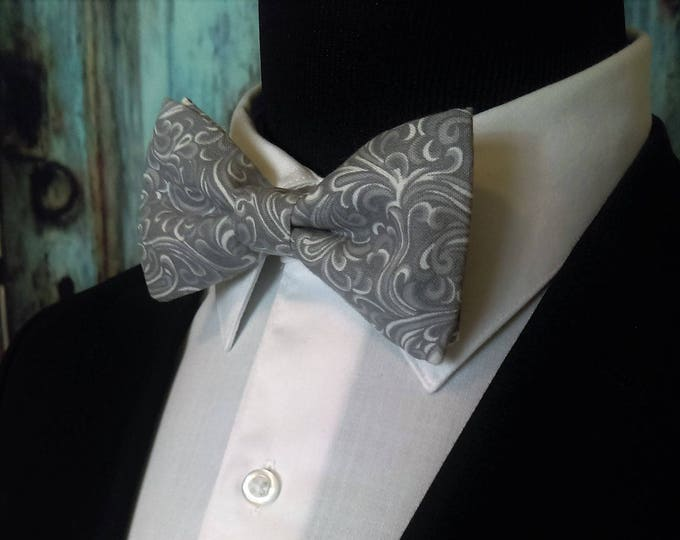 Grey Bow Tie, Grey Bowtie, Gray Bow Tie, Gray Bowtie, Mens Bow Tie, Prom, Cotton, Fathers Day, Birthday, Gift, Christmas, Wedding, Dad