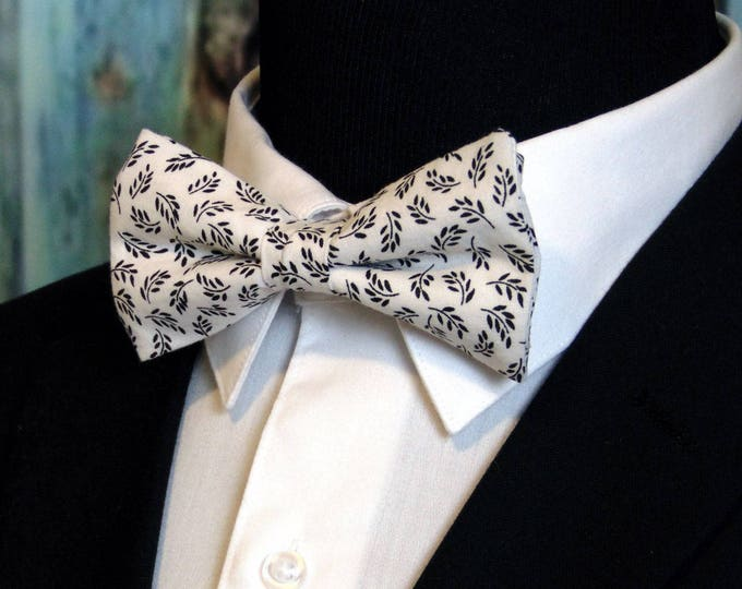 White Bow Tie, White Bowtie, Floral Bow Tie, Mens Bow Tie, Bride, Black Bow Tie, Leaf, Fathers Day, Birthday, Wedding, Christmas, Prom, Dad