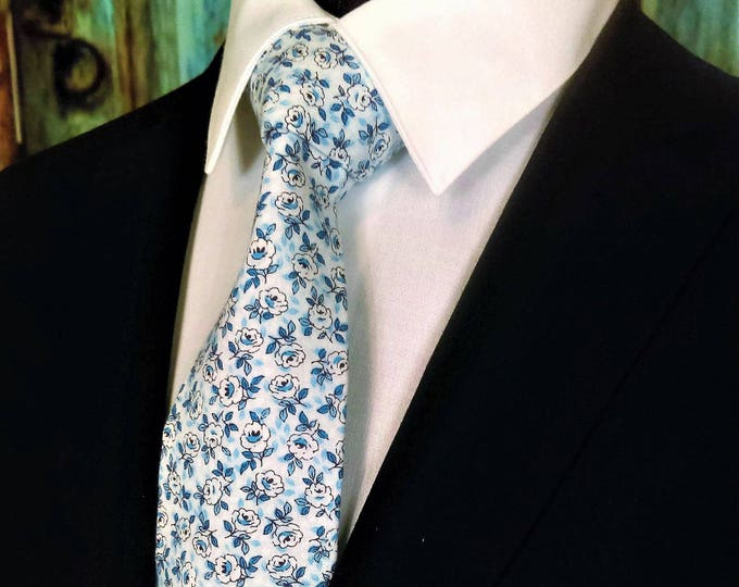 Blue Floral Groomsmen Tie – Cotton Blue Floral Necktie Ideal for Blue Wedding or Spring Wedding, Perfect Father of Bride Gift