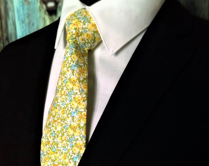 Floral Necktie, Floral Tie, Yellow Necktie, Yellow Tie, Mens, Skinny Tie, Fathers Day, Birthday, Gift, Christmas, Wedding, Dad, Blue