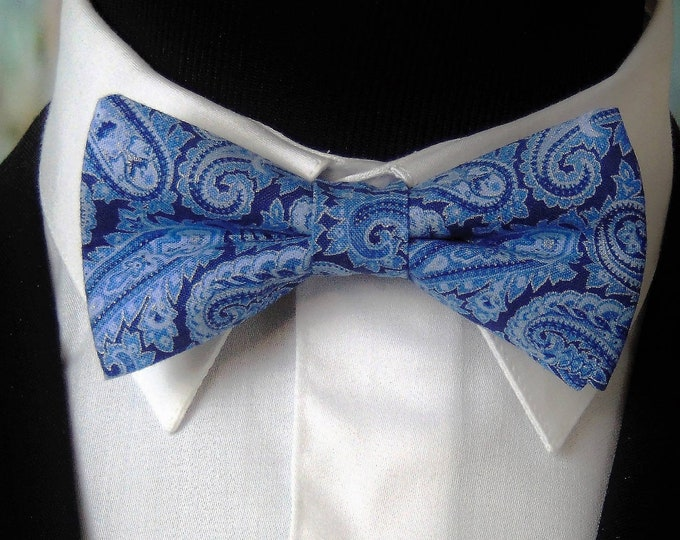 Paisley Bow Tie – Mens or Boys Blue Paisley Bow Tie for Wedding or Prom.