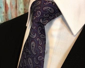 Purple Paisley Tie – Mens Silk Purple Paisley Necktie