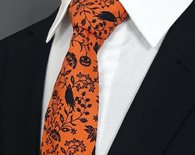 Halloween Necktie – Mens Orange and Black Halloween Tie