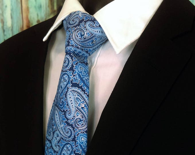Fathers Day Gift – Paisley Neck Tie, Mens Blue Paisley Necktie. Available as a Skinny Tie and a Extra Long Tie